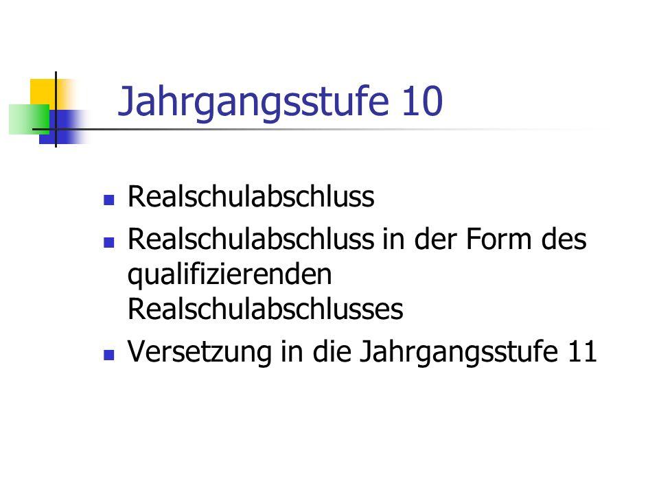 Jahrgangsstufe 10 Realschulabschluss in der Form des qualifizierenden Realschulabschlusses Versetzung in die Jahrgangsstufe 11