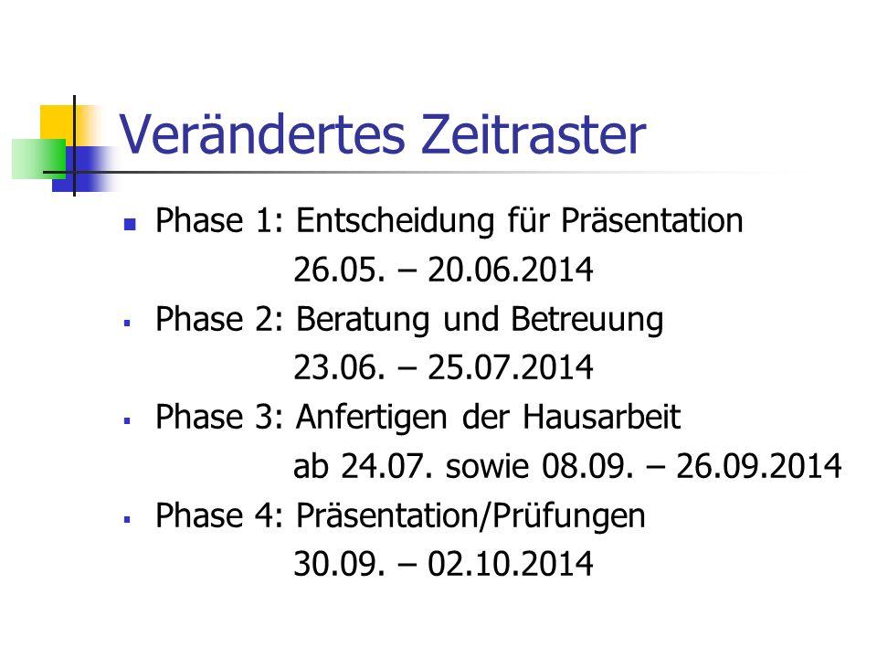 Verändertes Zeitraster Phase 1: Entscheidung für Präsentation 26.05. – 20.06.2014  Phase 2: Beratung und Betreuung 23.06. – 25.07.2014  Phase 3: Anf