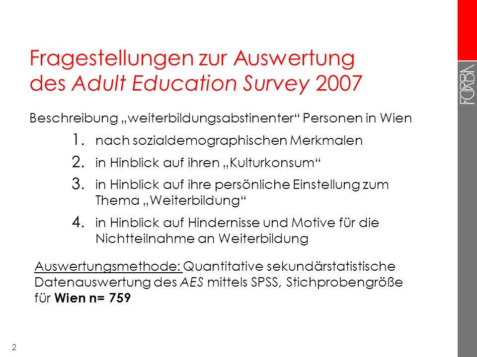 """2 Fragestellungen zur Auswertung des Adult Education Survey 2007 Beschreibung """"weiterbildungsabstinenter"""" Personen in Wien 1. nach sozialdemographisch"""