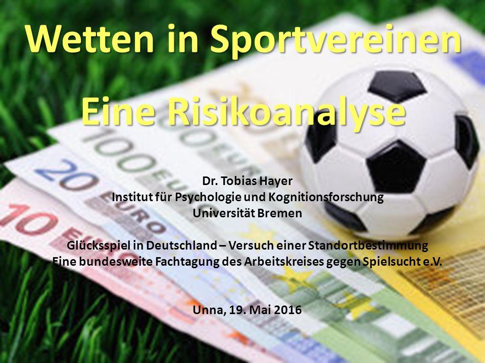 Wetten in Sportvereinen Eine Risikoanalyse Dr.