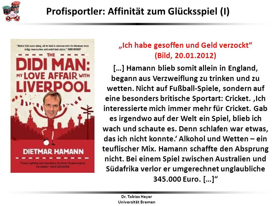 """""""Ich habe gesoffen und Geld verzockt (Bild, 20.01.2012) […] Hamann blieb somit allein in England, begann aus Verzweiflung zu trinken und zu wetten."""