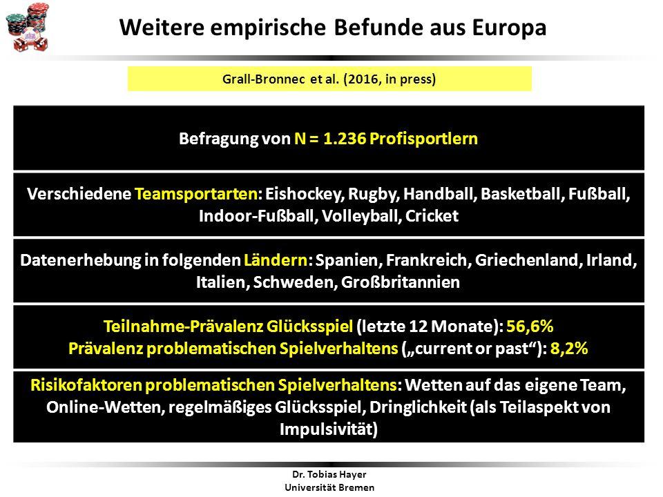 Dr. Tobias Hayer Universität Bremen Weitere empirische Befunde aus Europa Grall-Bronnec et al.