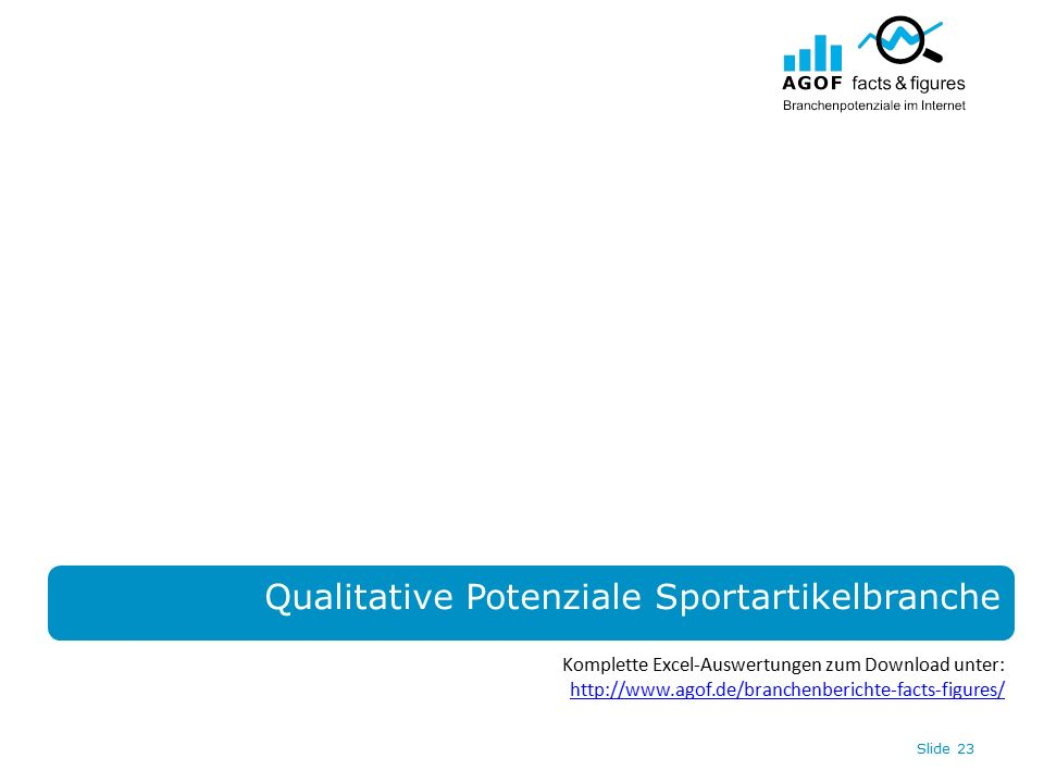 Slide 23 Qualitative Potenziale Sportartikelbranche Komplette Excel-Auswertungen zum Download unter: http://www.agof.de/branchenberichte-facts-figures/ http://www.agof.de/branchenberichte-facts-figures/