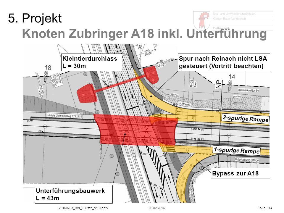 20160203_BVI_ZBPfeff_V1.0.pptx Folie 03.02.2016 5. Projekt Knoten Zubringer A18 inkl. Unterführung 14 Kleintierdurchlass L = 30m Unterführungsbauwerk