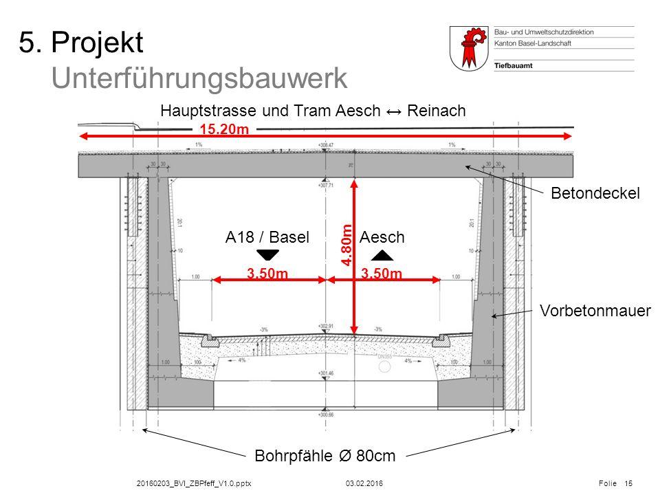 20160203_BVI_ZBPfeff_V1.0.pptx Folie 03.02.2016 5. Projekt Unterführungsbauwerk Hauptstrasse und Tram Aesch ↔ Reinach AeschA18 / Basel 15 15.20m 3.50m