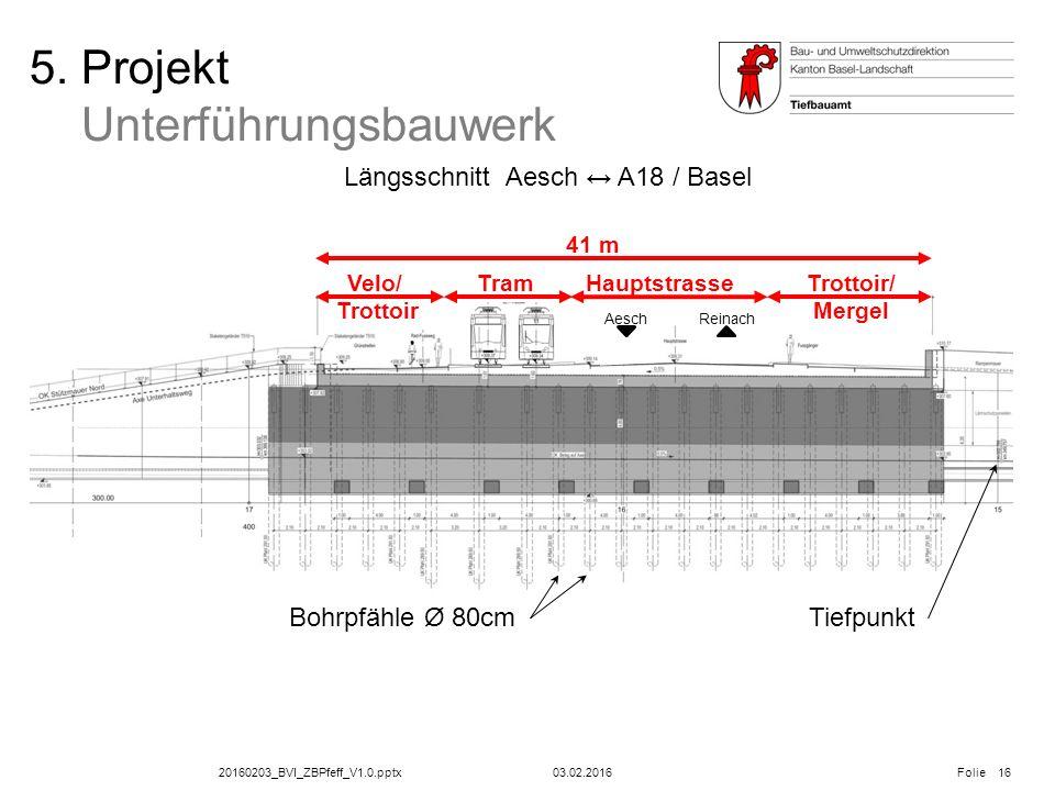 20160203_BVI_ZBPfeff_V1.0.pptx Folie 03.02.2016 5. Projekt Unterführungsbauwerk Längsschnitt Aesch ↔ A18 / Basel 16 ReinachAesch Velo/ Trottoir TramHa