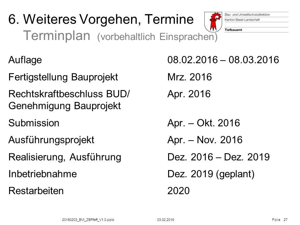 20160203_BVI_ZBPfeff_V1.0.pptx Folie 6. Weiteres Vorgehen, Termine Terminplan (vorbehaltlich Einsprachen) Auflage08.02.2016 – 08.03.2016 Fertigstellun