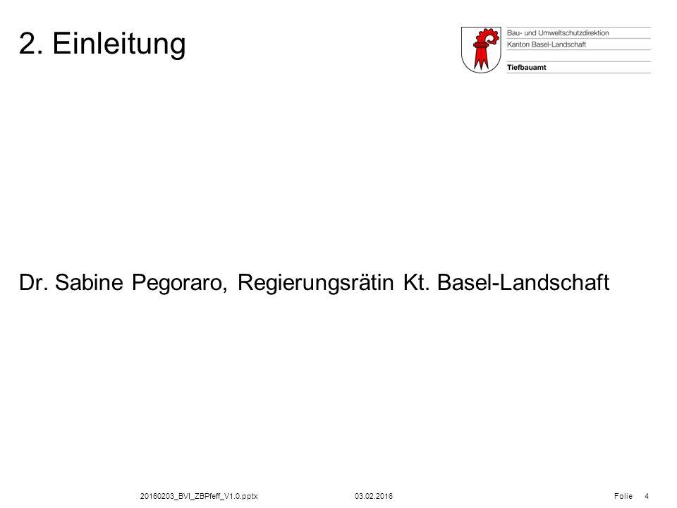 20160203_BVI_ZBPfeff_V1.0.pptx Folie 2. Einleitung 03.02.2016 4 Dr. Sabine Pegoraro, Regierungsrätin Kt. Basel-Landschaft