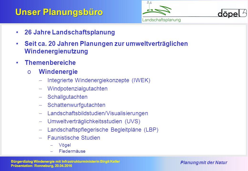 Planung mit der Natur Bürgerdialog Windenergie mit Infrastrukturministerin Birgit Keller Präsentation: Ronneburg, 20.04.2016 Unser Planungsbüro 26 Jahre Landschaftsplanung Seit ca.