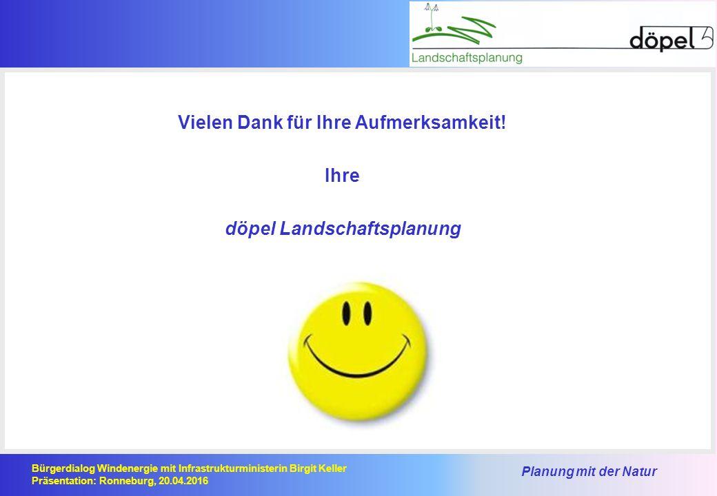 Planung mit der Natur Bürgerdialog Windenergie mit Infrastrukturministerin Birgit Keller Präsentation: Ronneburg, 20.04.2016 Vielen Dank für Ihre Aufmerksamkeit.