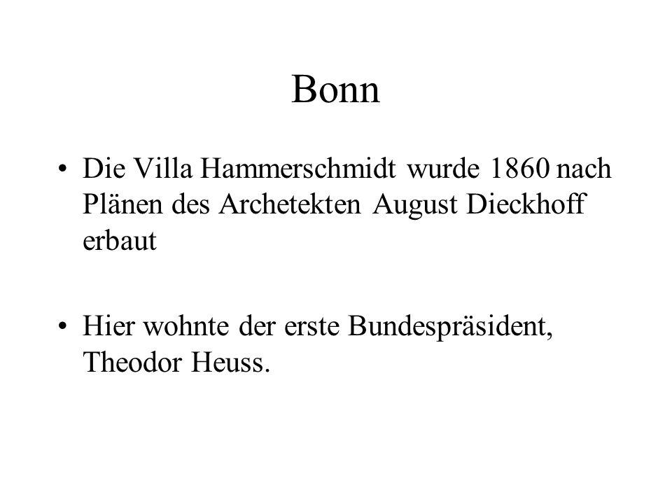 Bonn Die Villa Hammerschmidt wurde 1860 nach Plänen des Archetekten August Dieckhoff erbaut Hier wohnte der erste Bundespräsident, Theodor Heuss.