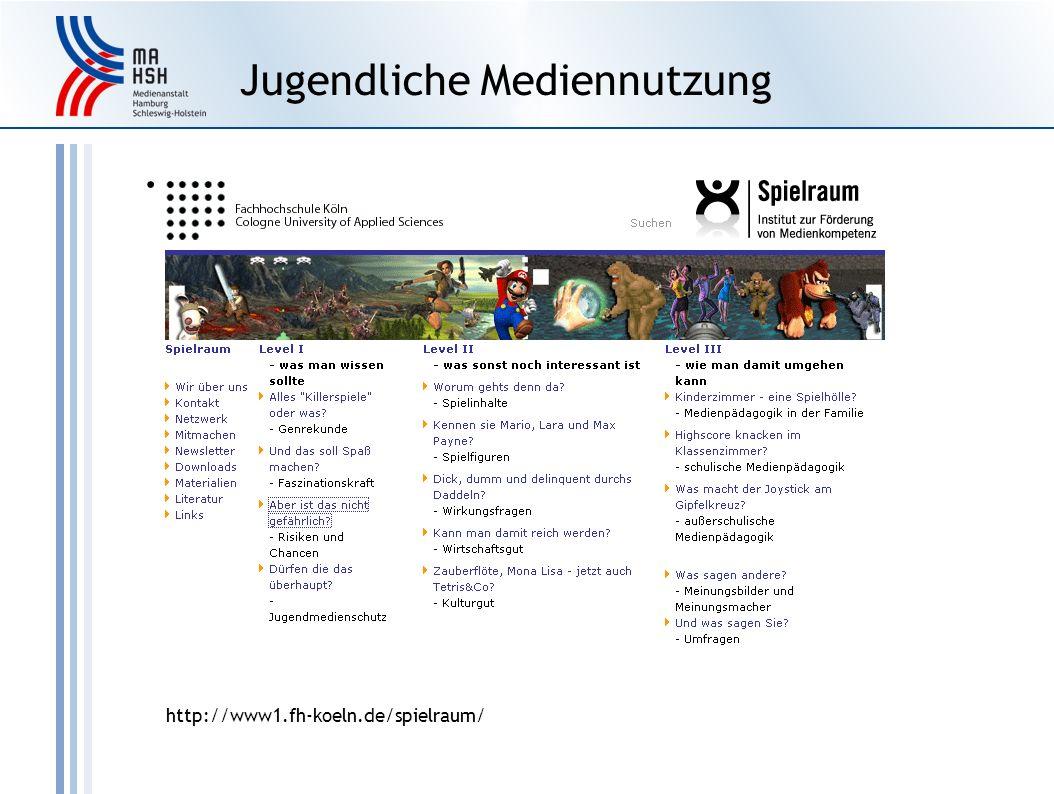 Jugendliche Mediennutzung http://www1.fh-koeln.de/spielraum/