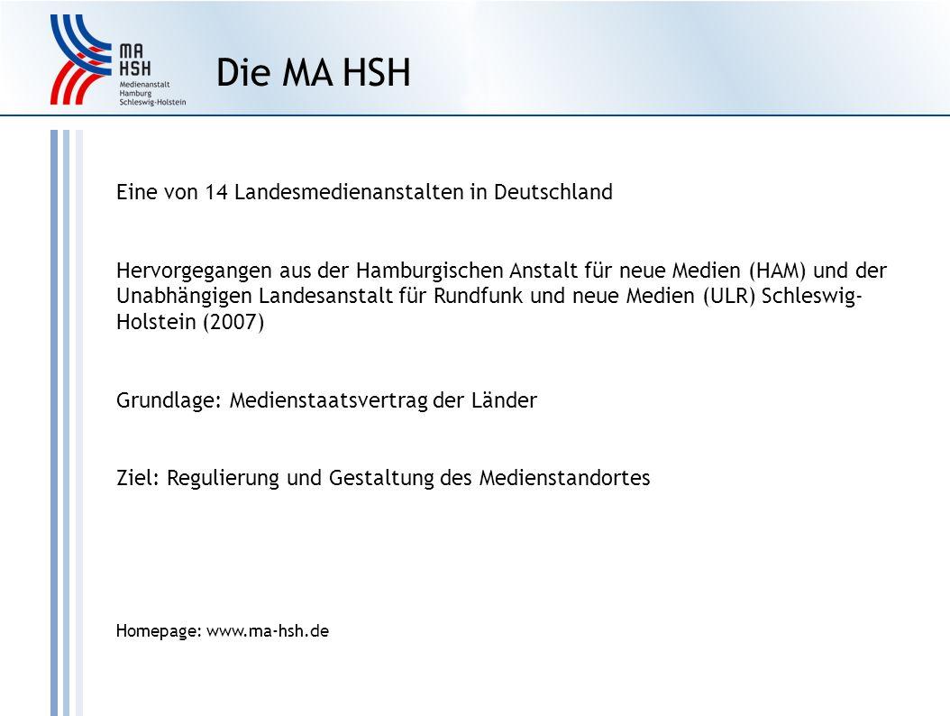 Eine von 14 Landesmedienanstalten in Deutschland Hervorgegangen aus der Hamburgischen Anstalt für neue Medien (HAM) und der Unabhängigen Landesanstalt für Rundfunk und neue Medien (ULR) Schleswig- Holstein (2007) Grundlage: Medienstaatsvertrag der Länder Ziel: Regulierung und Gestaltung des Medienstandortes Homepage: www.ma-hsh.de Die MA HSH