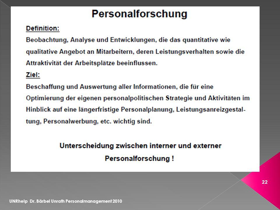 UNRhelp Dr. Bärbel Unrath Personalmanagement 2010 22