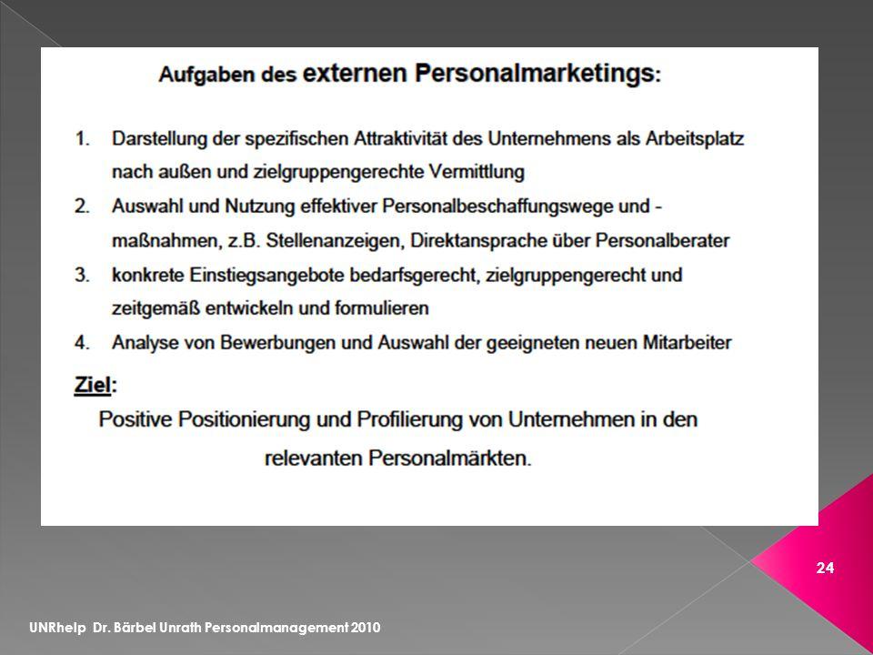 UNRhelp Dr. Bärbel Unrath Personalmanagement 2010 24