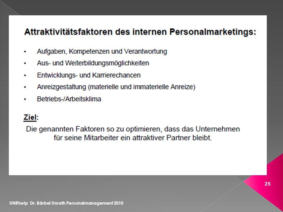 UNRhelp Dr. Bärbel Unrath Personalmanagement 2010 25