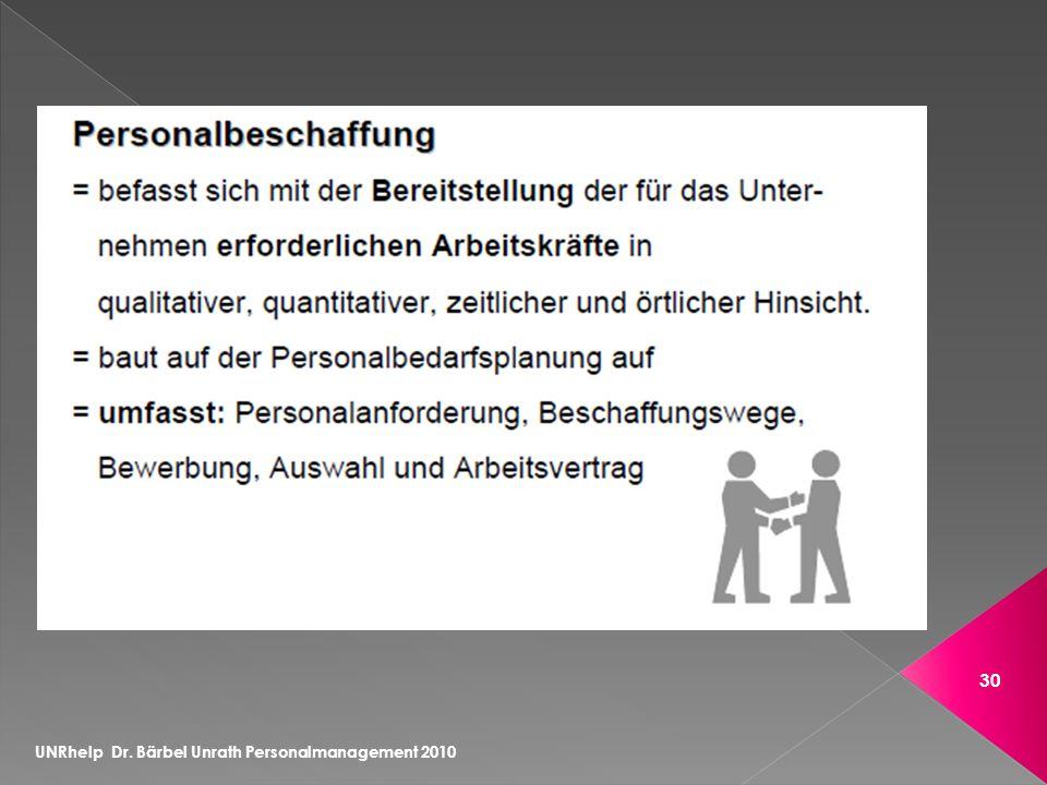 UNRhelp Dr. Bärbel Unrath Personalmanagement 2010 30