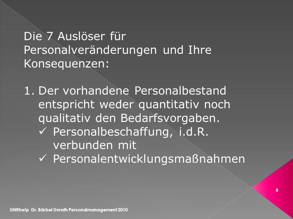 UNRhelp Dr.Bärbel Unrath Personalmanagement 2010 7 2.