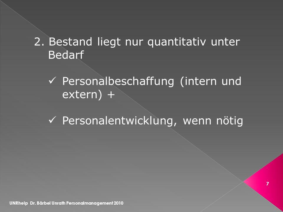 UNRhelp Dr. Bärbel Unrath Personalmanagement 2010 7 2.