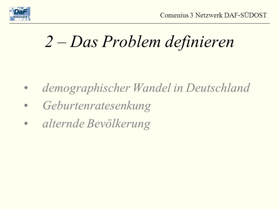 demographischer Wandel in Deutschland Geburtenratesenkung alternde Bevölkerung Comenius 3 Netzwerk DAF-SÜDOST 2 – Das Problem definieren