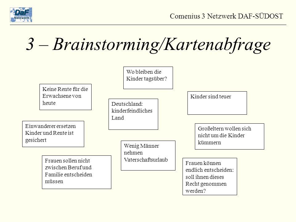 Comenius 3 Netzwerk DAF-SÜDOST 3 – Brainstorming/Kartenabfrage Keine Rente für die Erwachsene von heute Wo bleiben die Kinder tagsüber.