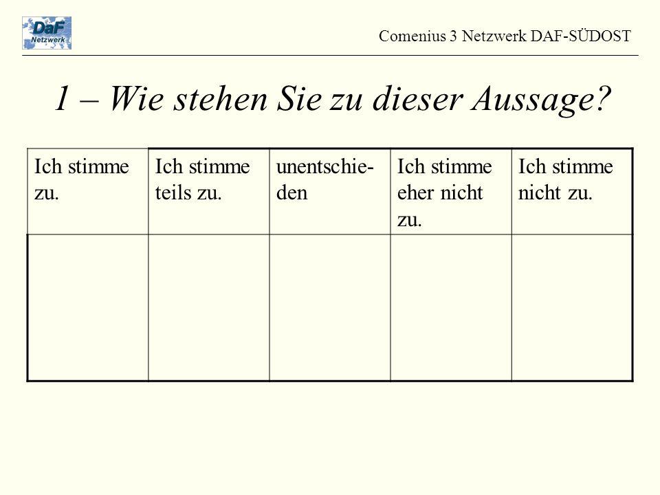 Comenius 3 Netzwerk DAF-SÜDOST 1 – Wie stehen Sie zu dieser Aussage.
