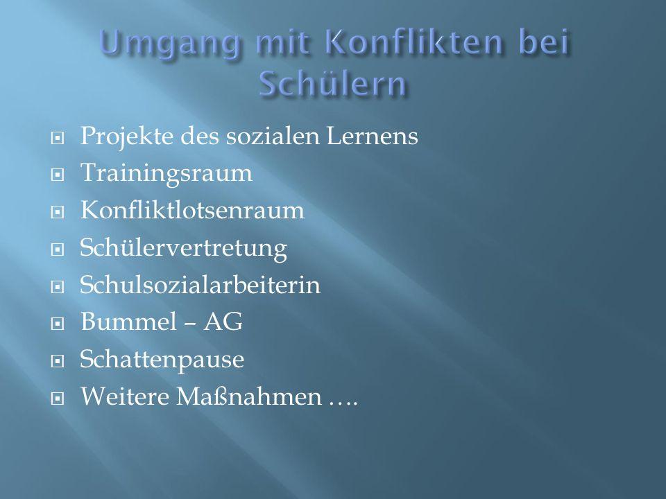  Projekte des sozialen Lernens  Trainingsraum  Konfliktlotsenraum  Schülervertretung  Schulsozialarbeiterin  Bummel – AG  Schattenpause  Weite
