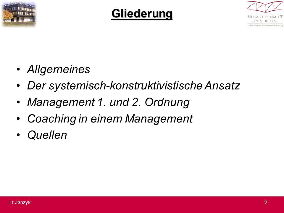 """Der systemisch – konstruktivistische Ansatz 5 Ziel des systemisch – konstruktivistischen Ansatzes in einem Management heute ist es also: """"Unterscheidungen zu machen, die Relevantes von Nicht- Relevantem und Beachtetes von Nicht – Beachtetem unterscheiden! 13Lt Janzyk"""