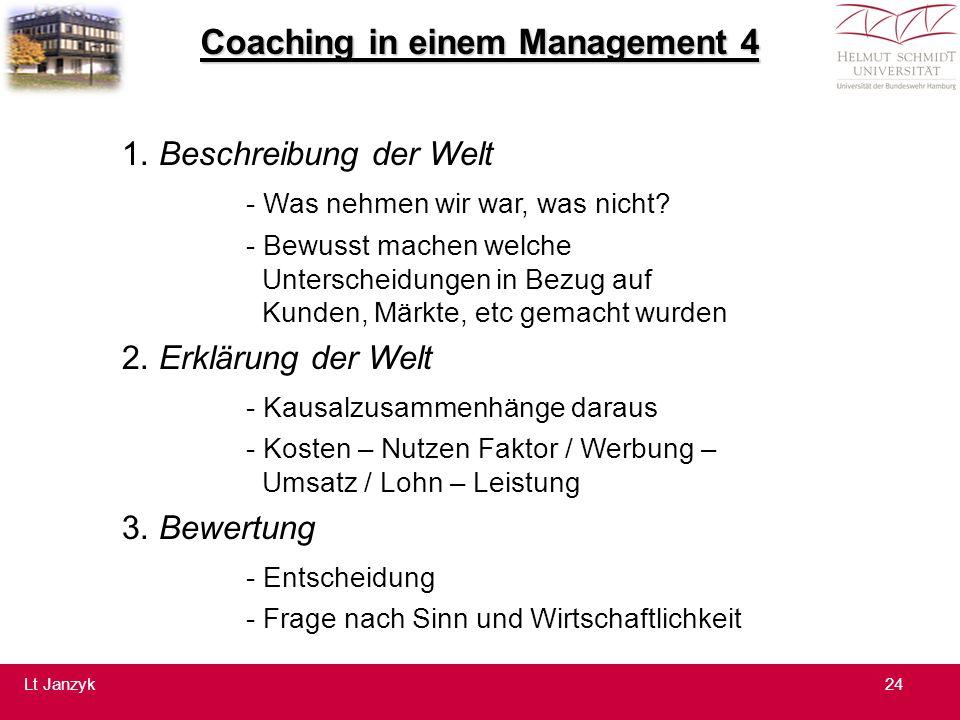 Coaching in einem Management 4 1.Beschreibung der Welt - Was nehmen wir war, was nicht.