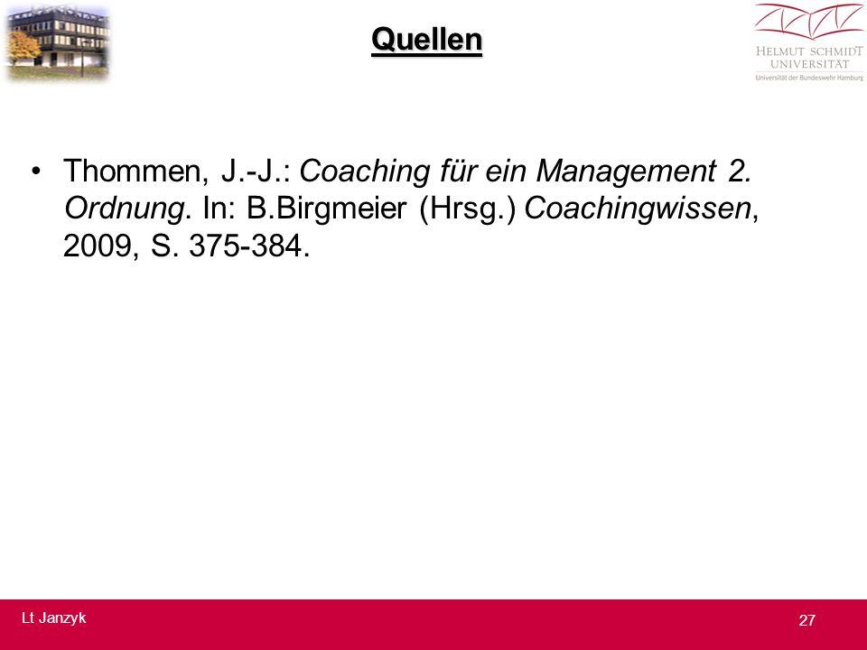 Quellen Thommen, J.-J.: Coaching für ein Management 2.