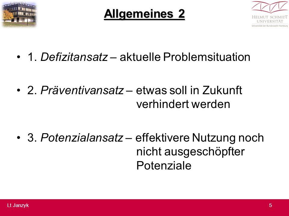 Allgemeines 2 1.Defizitansatz – aktuelle Problemsituation 2.
