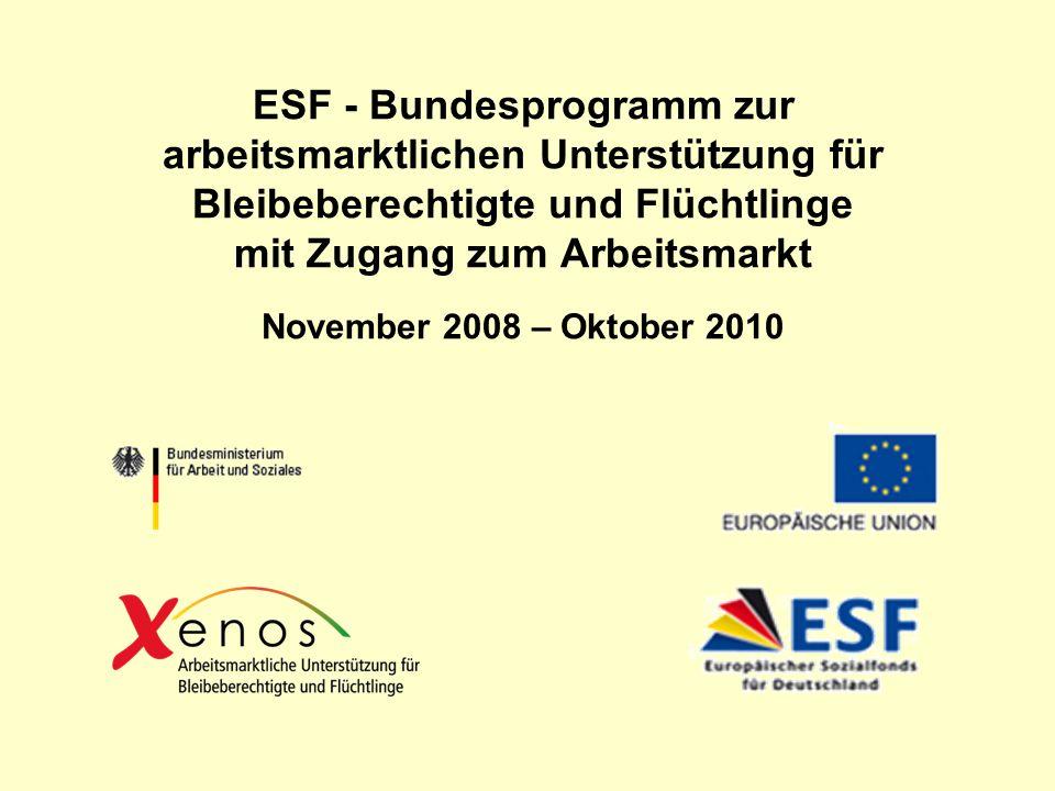 ESF - Bundesprogramm zur arbeitsmarktlichen Unterstützung für Bleibeberechtigte und Flüchtlinge mit Zugang zum Arbeitsmarkt November 2008 – Oktober 2010