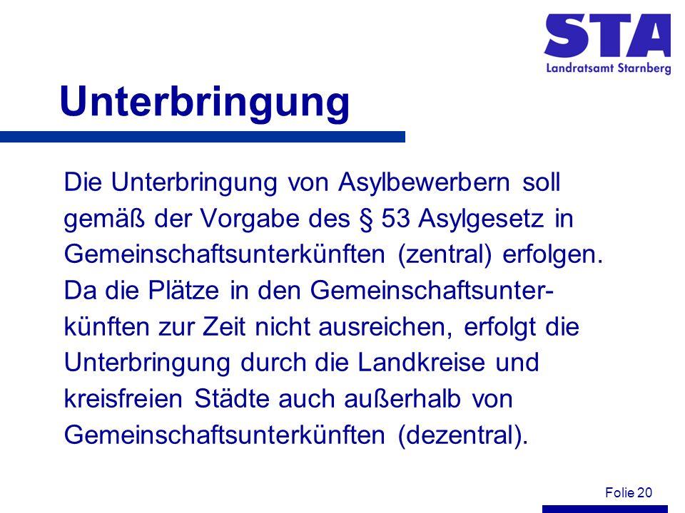 Folie 20 Unterbringung Die Unterbringung von Asylbewerbern soll gemäß der Vorgabe des § 53 Asylgesetz in Gemeinschaftsunterkünften (zentral) erfolgen.