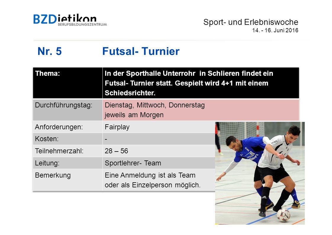 Nr. 5Futsal- Turnier Sport- und Erlebniswoche 14. - 16. Juni 2016