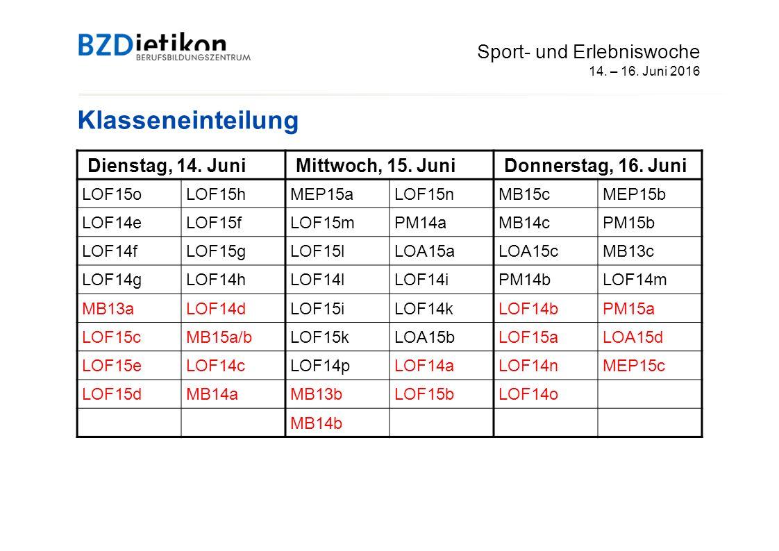 Anmeldeverfahren Sport- und Erlebniswoche 14.- 16.