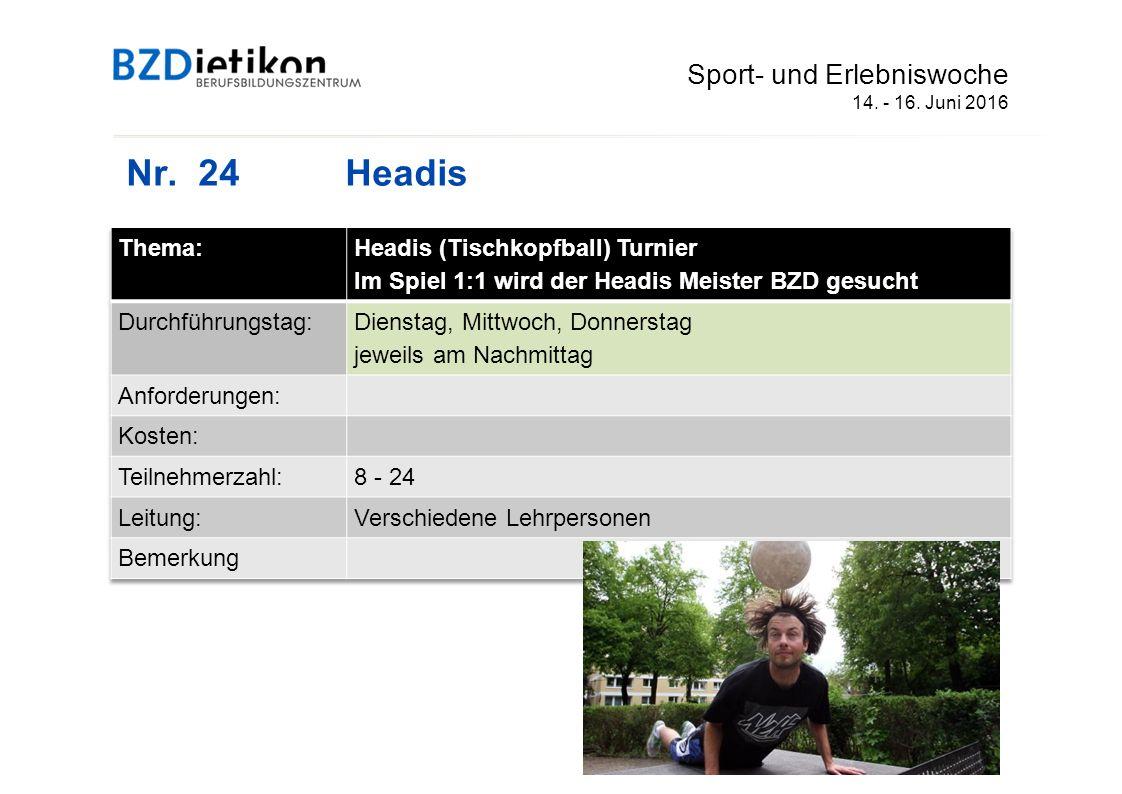 Nr. 24Headis Sport- und Erlebniswoche 14. - 16. Juni 2016