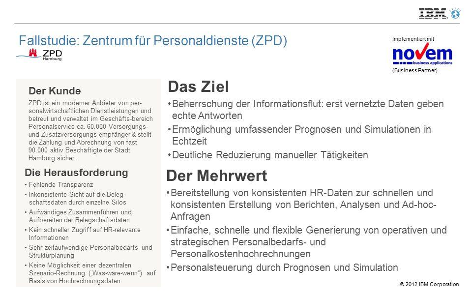 © 2012 IBM Corporation Fallstudie: Zentrum für Personaldienste (ZPD) Der Kunde ZPD ist ein moderner Anbieter von per- sonalwirtschaftlichen Dienstleistungen und betreut und verwaltet im Geschäfts-bereich Personalservice ca.