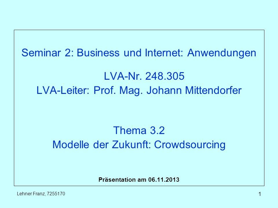 Seminar 2: Business und Internet: Anwendungen LVA-Nr.