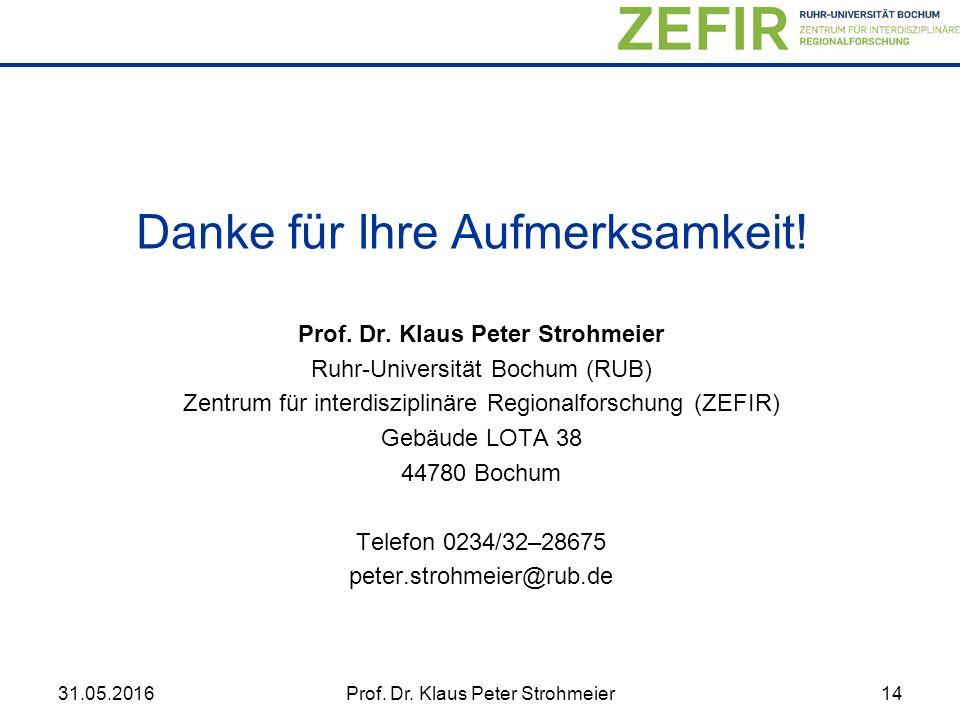 31.05.2016Prof. Dr. Klaus Peter Strohmeier14 Prof.