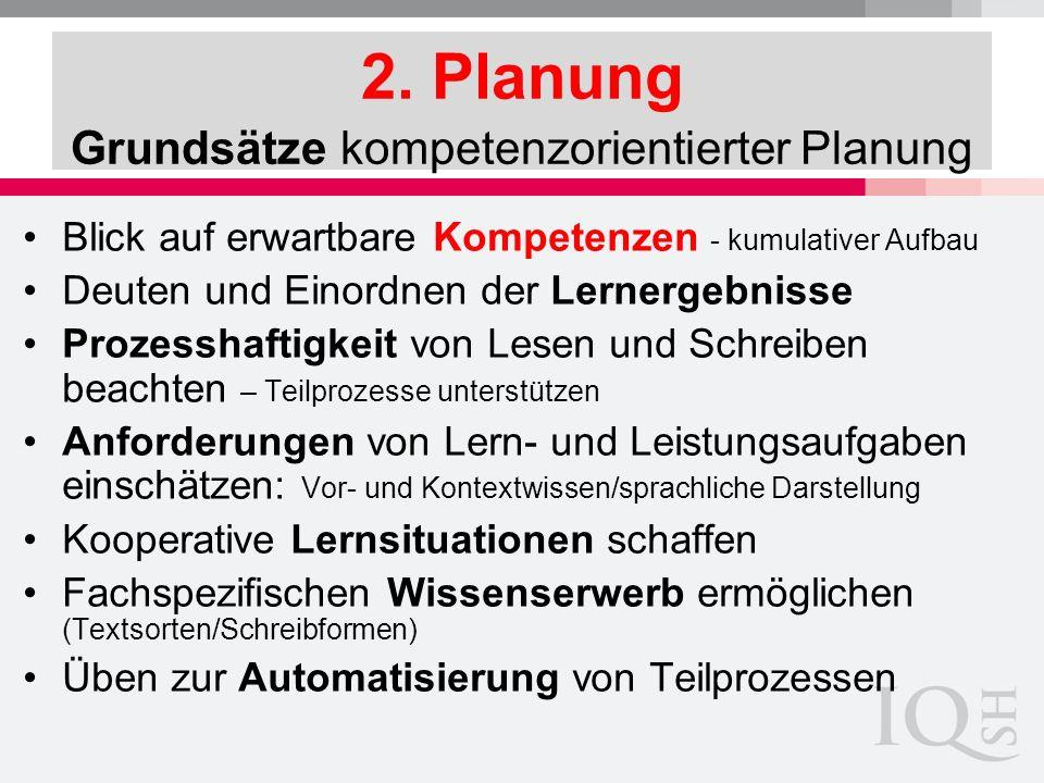 2. Planung Grundsätze kompetenzorientierter Planung Blick auf erwartbare Kompetenzen - kumulativer Aufbau Deuten und Einordnen der Lernergebnisse Proz