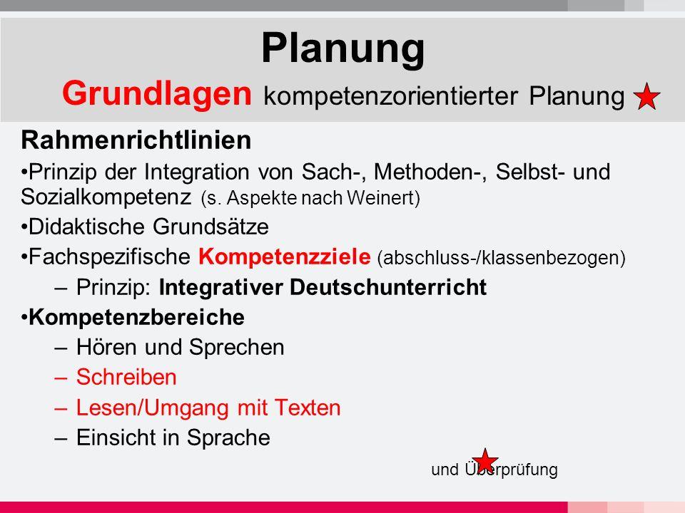 Planung Grundlagen kompetenzorientierter Planung Rahmenrichtlinien Prinzip der Integration von Sach-, Methoden-, Selbst- und Sozialkompetenz (s.