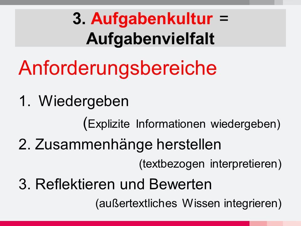 3. Aufgabenkultur = Aufgabenvielfalt Anforderungsbereiche 1.Wiedergeben ( Explizite Informationen wiedergeben) 2. Zusammenhänge herstellen (textbezoge