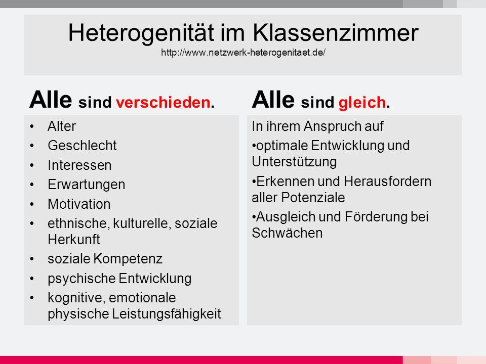 Heterogenität im Klassenzimmer http://www.netzwerk-heterogenitaet.de/ Alle sind verschieden.