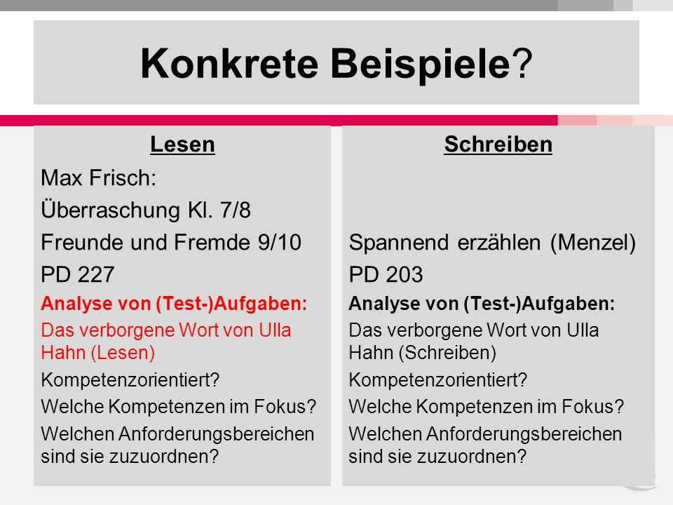 Konkrete Beispiele. Lesen Max Frisch: Überraschung Kl.