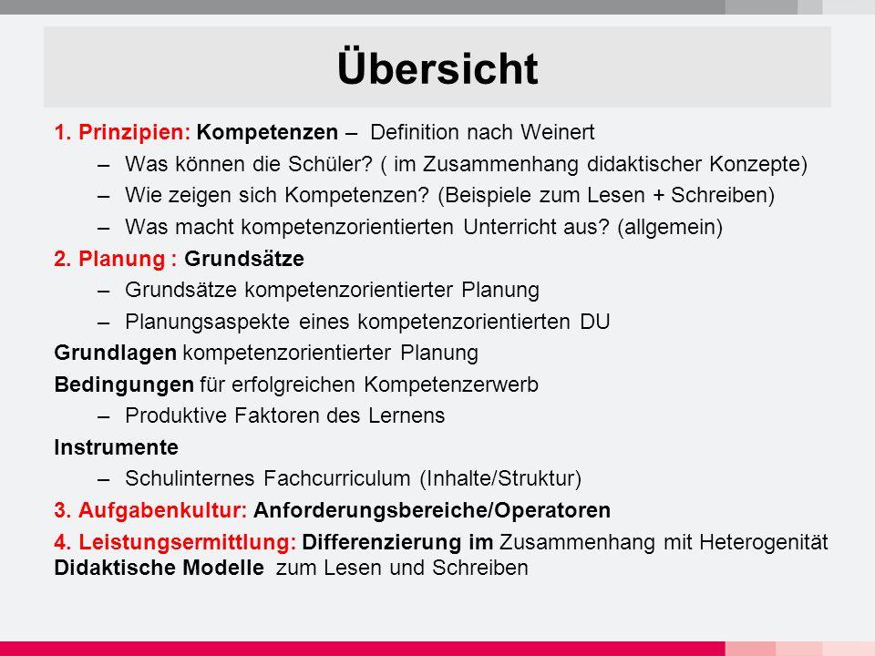 Kompetenzbereiche des Deutschunterrichts Kumulativer Kompetenzaufbau (Fertigkeiten/Kenntnisse = Aspekte von Kompetenz) Hören und Sprechen Schreiben Lesen/Umgang mit Texten Einsicht in Sprache s.