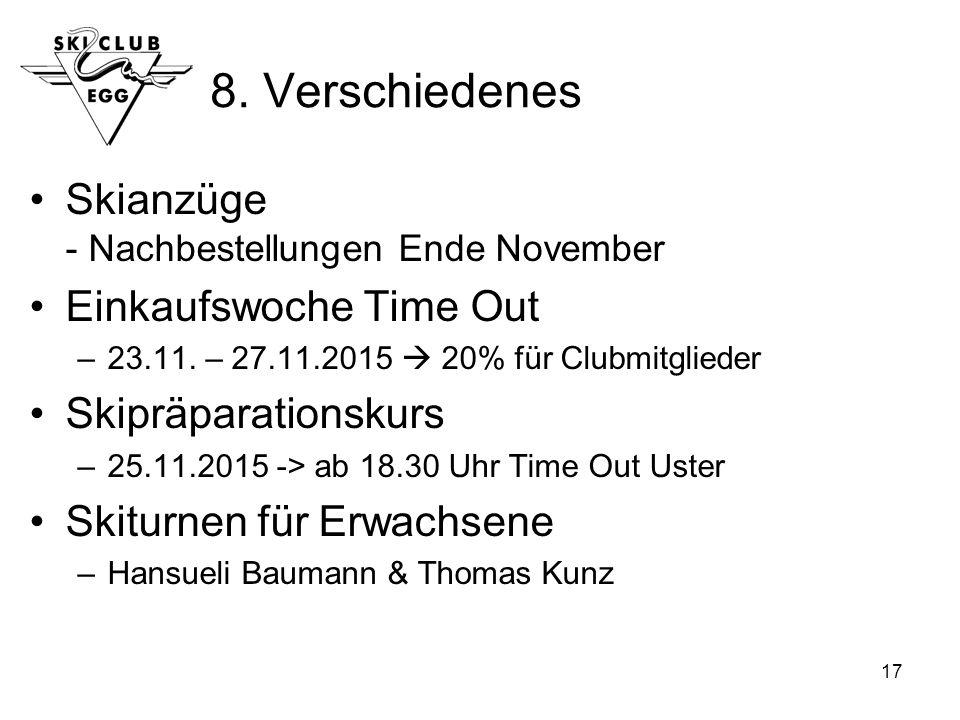 17 8. Verschiedenes Skianzüge - Nachbestellungen Ende November Einkaufswoche Time Out –23.11.