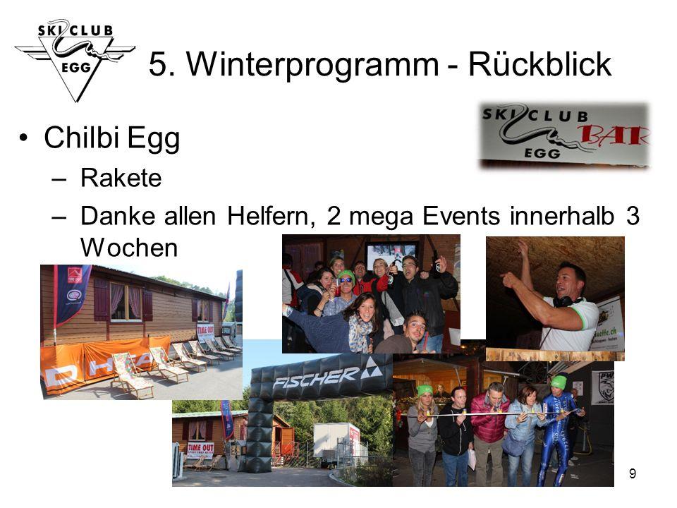 9 5. Winterprogramm - Rückblick Chilbi Egg – Rakete – Danke allen Helfern, 2 mega Events innerhalb 3 Wochen