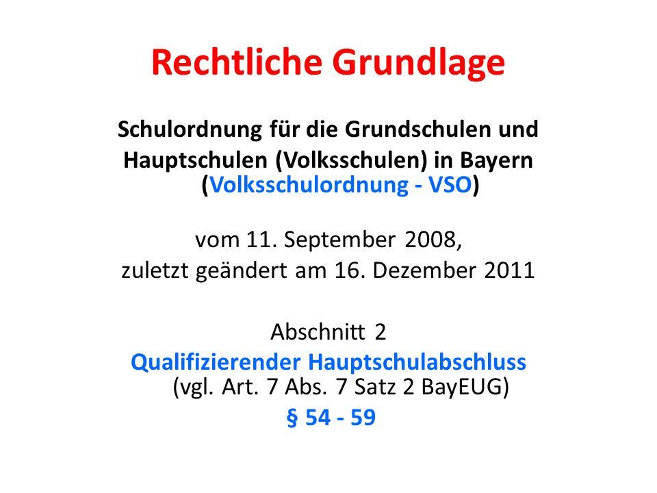 Rechtliche Grundlage Schulordnung für die Grundschulen und Hauptschulen (Volksschulen) in Bayern (Volksschulordnung - VSO) vom 11.