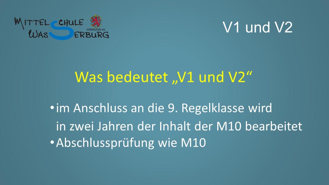 """V1 und V2 Wie komme ich in die """"V1 ."""