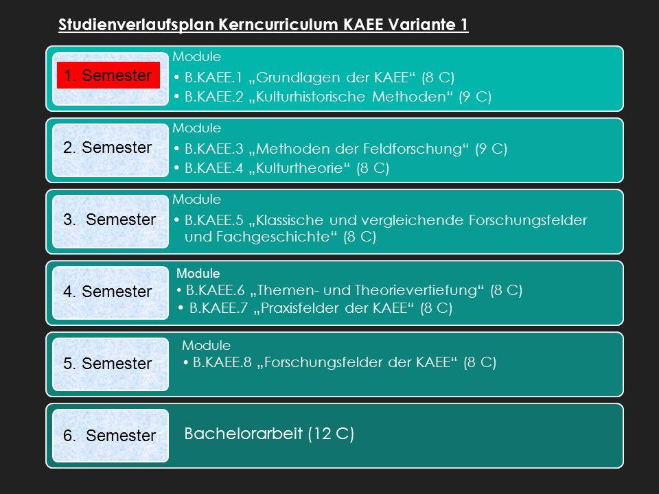 """Module B.KAEE.1 """"Grundlagen der KAEE (8 C) B.KAEE.2 """"Kulturhistorische Methoden (9 C) Module B.KAEE.3 """"Methoden der Feldforschung (9 C) B.KAEE.4 """"Kulturtheorie (8 C) Module B.KAEE.5 """"Klassische und vergleichende Forschungsfelder und Fachgeschichte (8 C) Studienverlaufsplan Kerncurriculum KAEE Variante 1 1."""